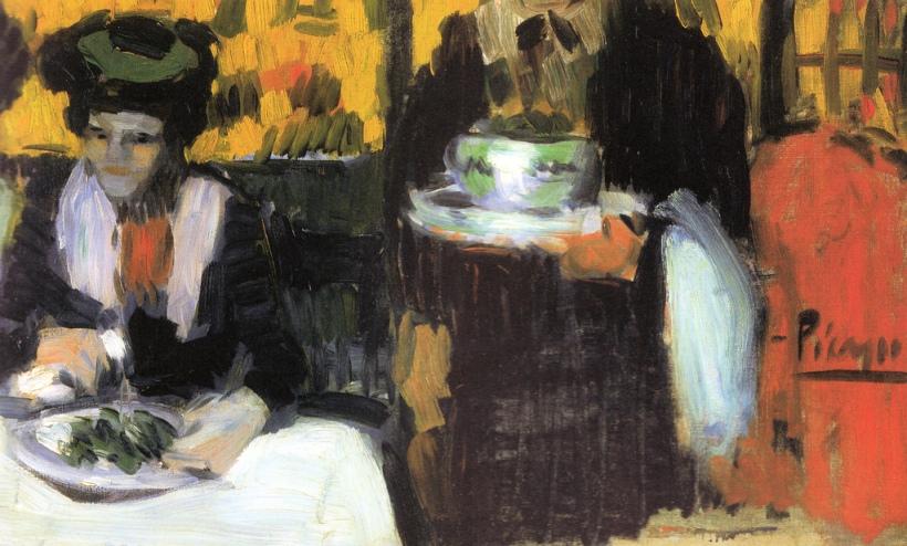 Pablo Picasso - At the Cafe de la Rotonde or L'Hippodrome, 1901 at The Kreeger Art Museum Washington DC
