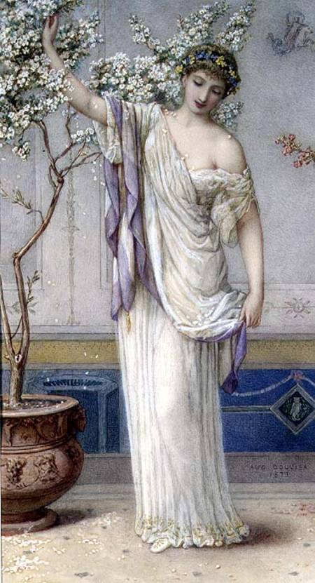 MAL85777 Flora, 1873 (w/c) by Bouvier, Augustus Jules (1827-81) watercolour on paper, heightened with white 33x26.7 Mallett Gallery, London, UK © Mallett Gallery, London, UK English, out of copyright