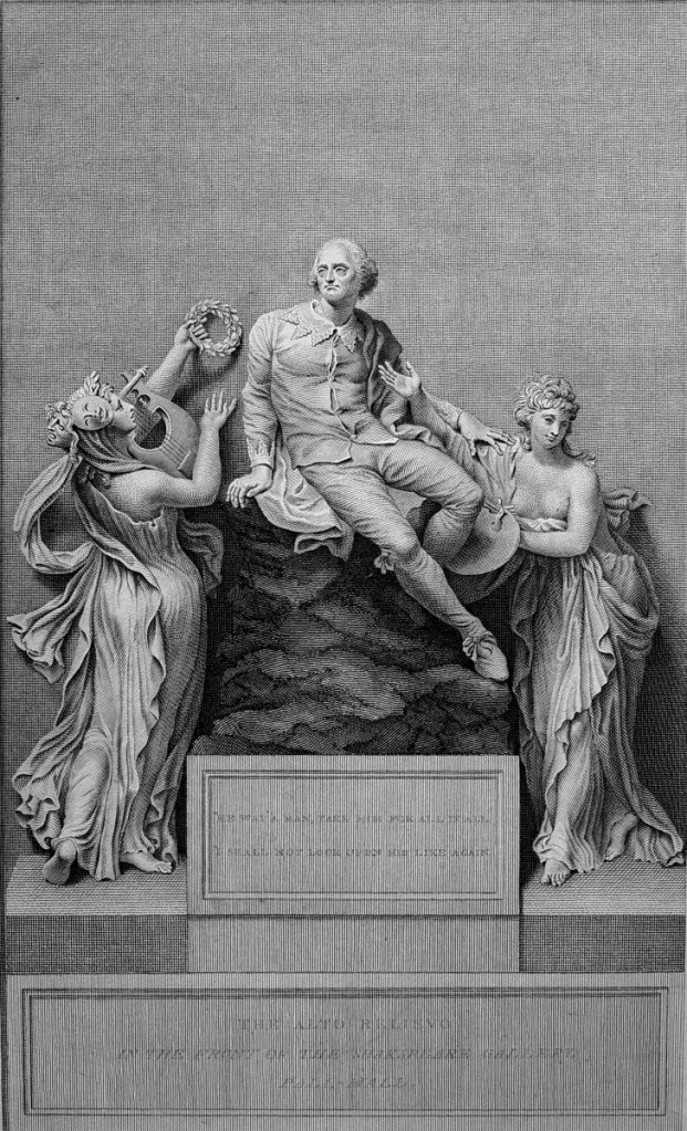 插圖書名頁:繪畫與詩藝伴隨莎士比亞,班克斯(Thomas Banks, 1735-1805)石雕刻製,史密斯(Benjamin Smith, 1754-1833)銅版。