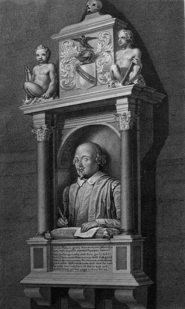 莎士比亞紀念像,依據約翰‧保德勒的素描手稿製版。