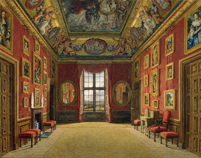 查爾斯‧懷德(Charles Wild, 1781–1835),溫莎保的國王小廳(King's Closet),1816,水彩畫紙,英國王室收藏。