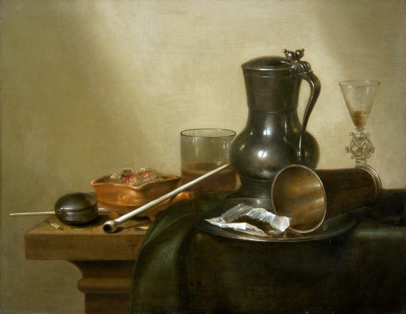 威廉‧賀達,有煙管、酒杯與懷錶的靜物,1637,油彩畫布。