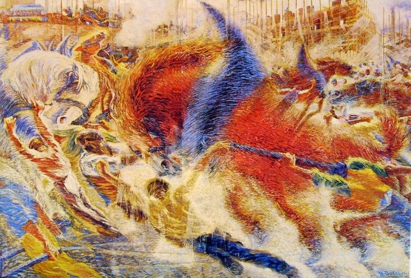 翁貝托·薄邱尼(Umberto Boccioni), 《城市的興起》,1910。