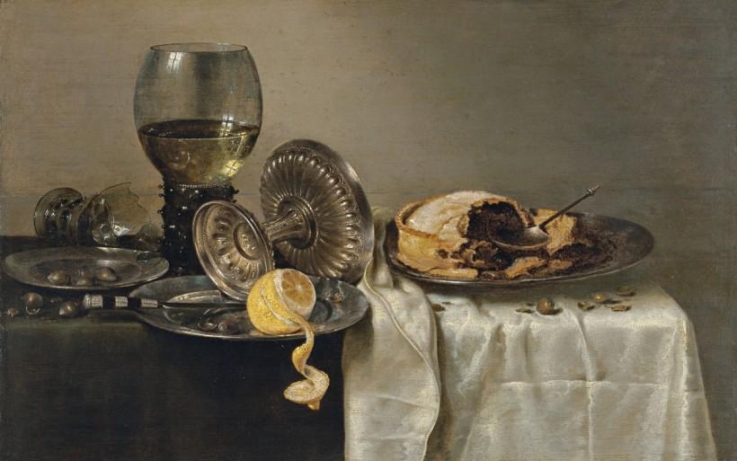 威廉‧賀達,有派餅的靜物,油彩畫布,1634。