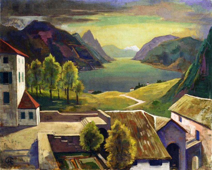 瑞士山城蒙塔格諾拉(Montagnola),油彩畫布。