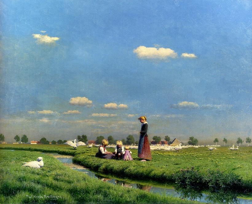 草地上,油彩畫布,79 x 63.2 cm。