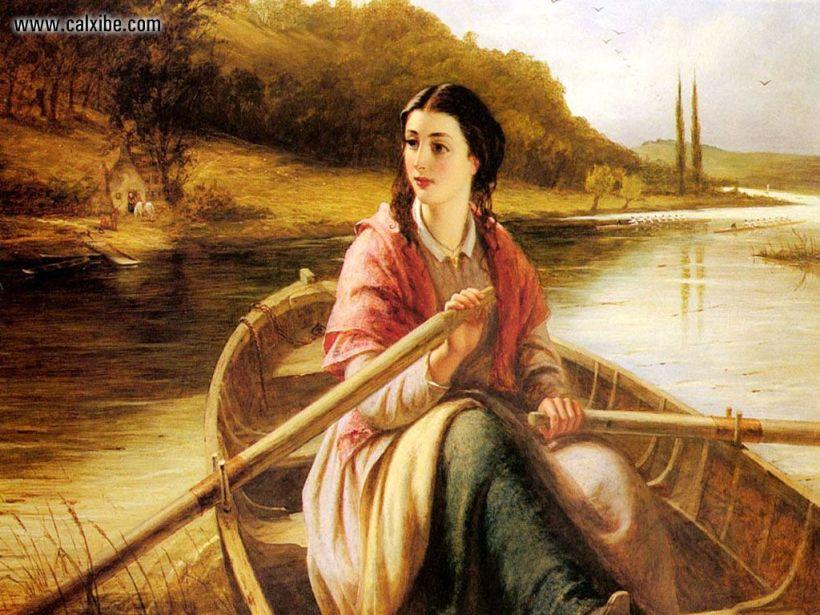 渡船(The Ferry Painting),油彩畫布,1869。