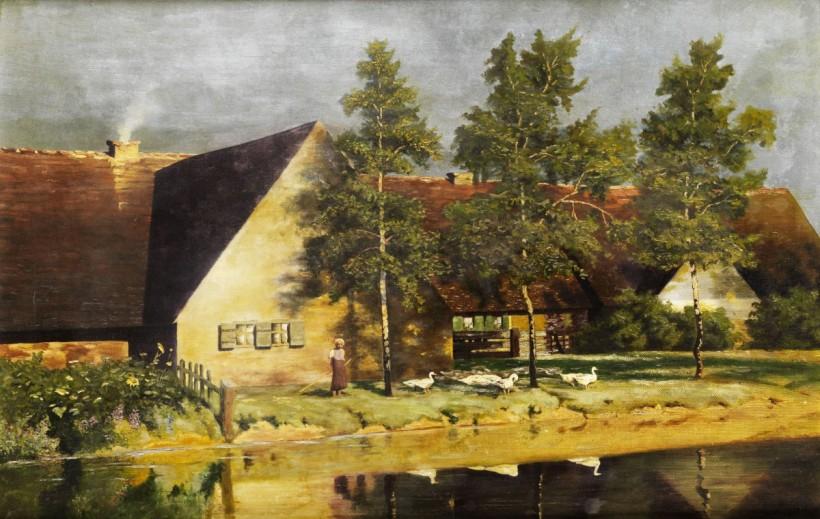 莊園中的牧鵝少女,油彩畫布,53 x 89 cm。