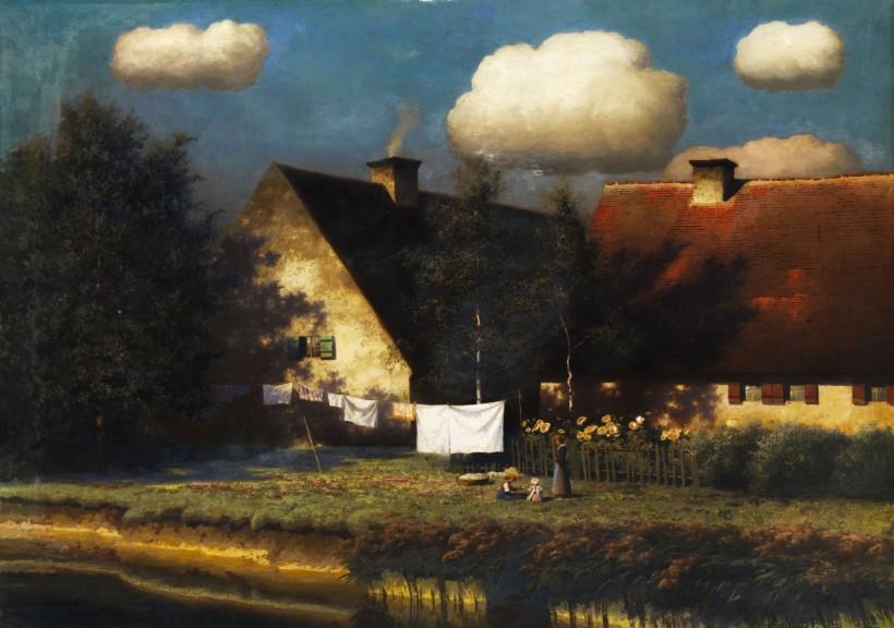 夏末莊園,油彩畫布,74 x 106 cm。