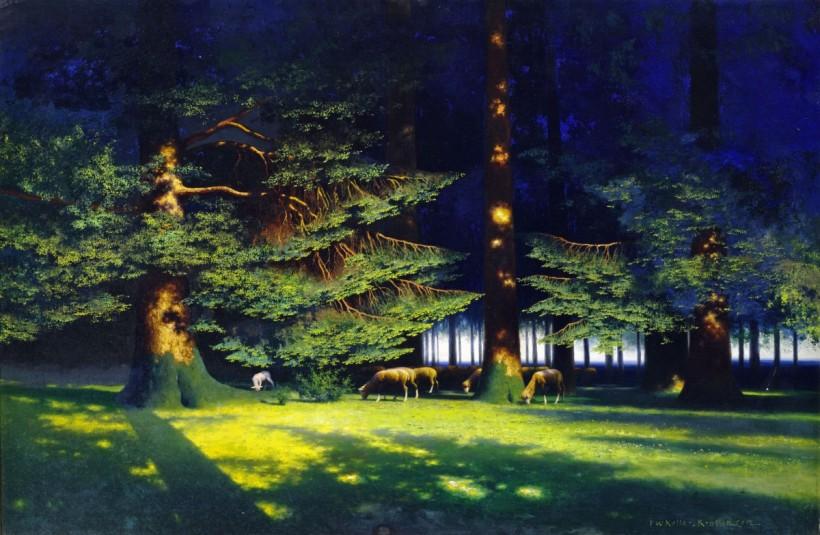 林中羊群,油彩畫布,76 x 105 cm。