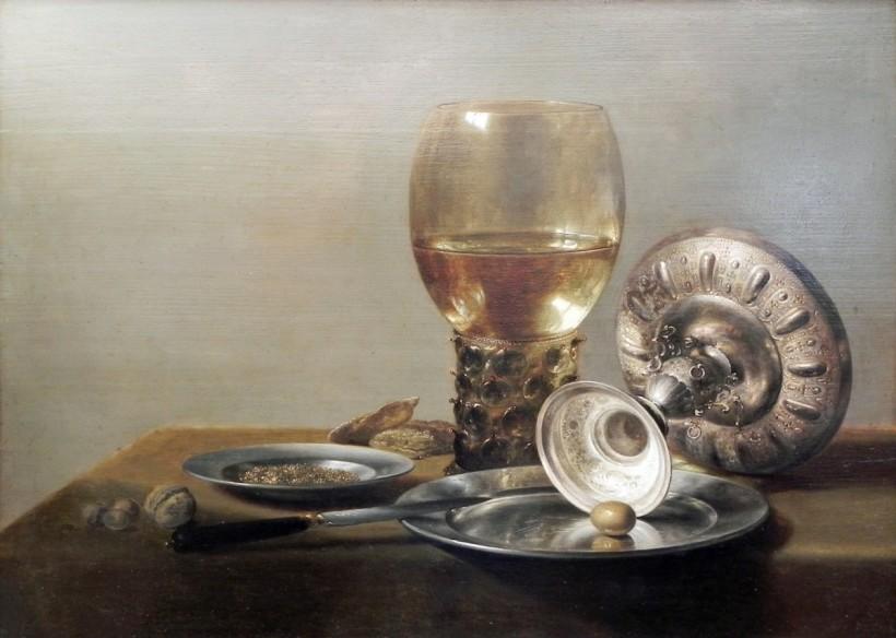 彼得‧克雷茲,有白葡萄酒杯與銀杯的靜物,約1635,油彩畫布,收藏於柏林繪畫館(Gemäldegalerie)。