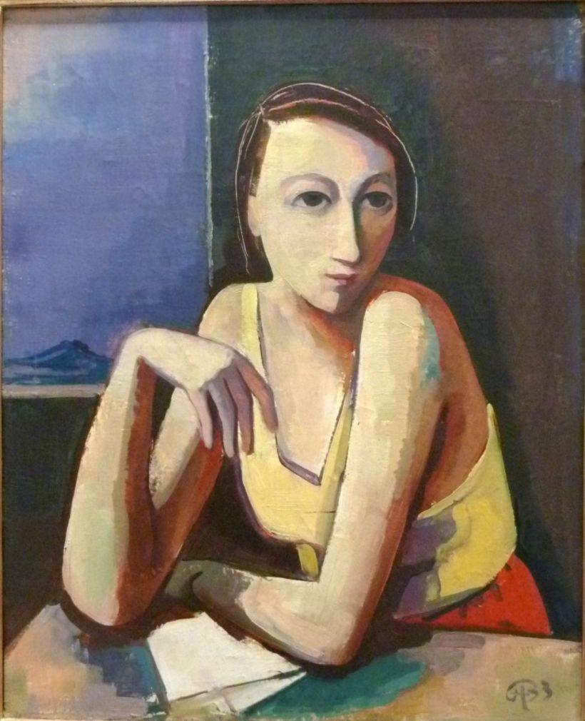 桌前的女子,油彩畫布。
