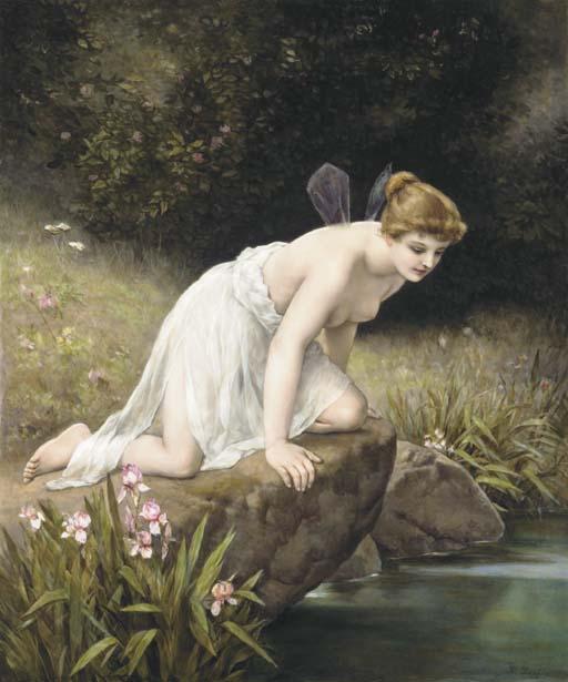 在水邊的賽姬,瓷盤畫。