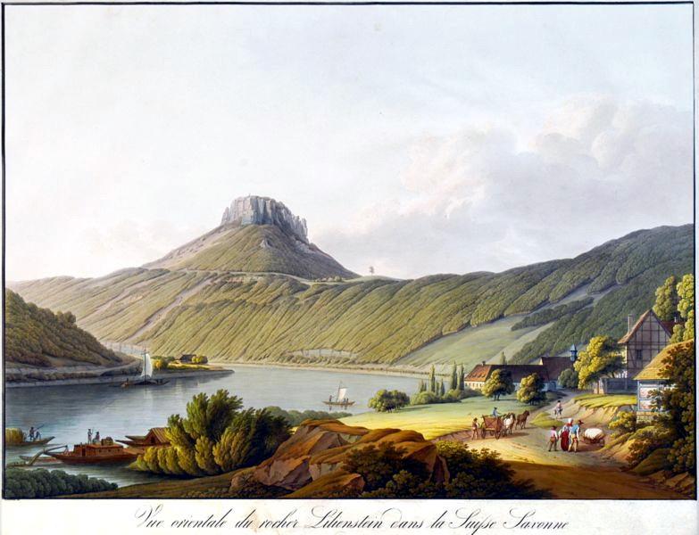 德國薩克森州百合石一景(Lilienstein),銅版腐蝕法,手繪上彩(coloured etching),1810。