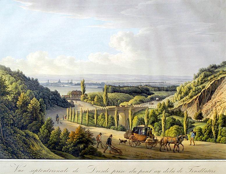 遠眺德雷斯敦(Nördlicher Blick auf Dresden),銅版腐蝕法,手繪上彩(coloured etching),1805。