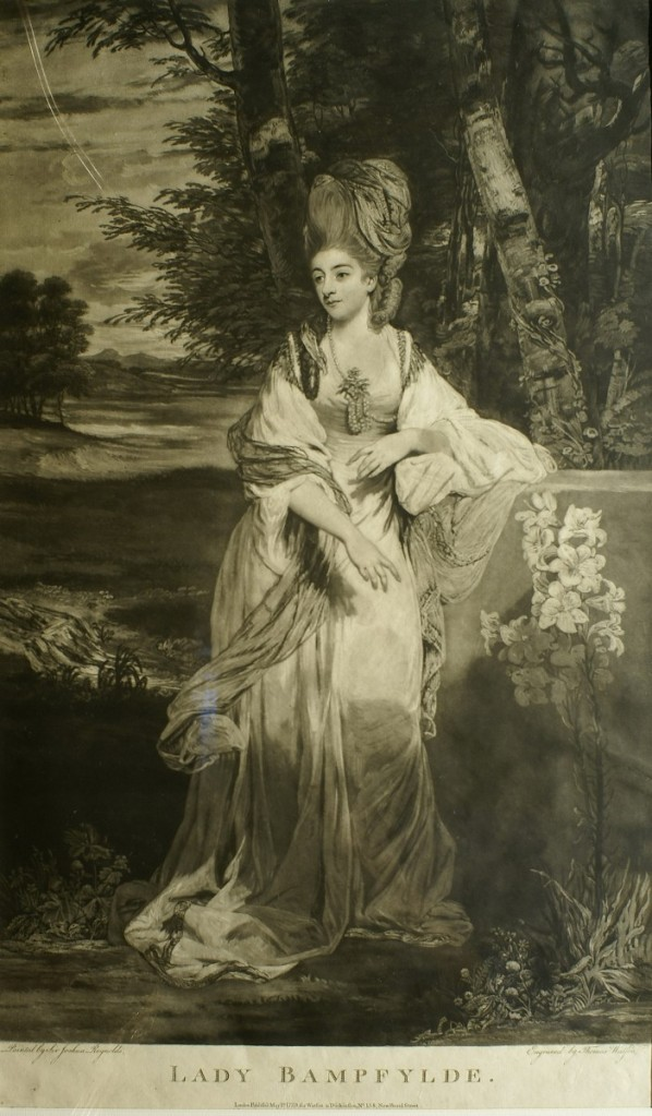 美柔汀銅版畫家瓦特生(Thomas Watson)複刻的雷諾斯《本懷德女士肖像》。