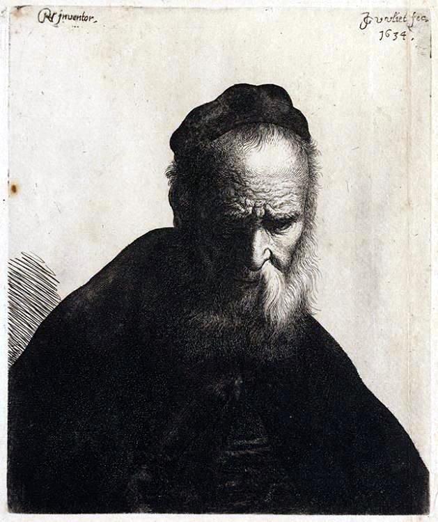 約翰‧凡‧弗利特,《有落腮鬍的男人》(Man met baard),原為林布蘭特的油畫作品。