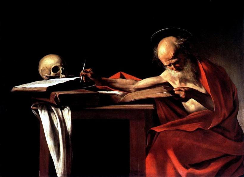 義大利畫家卡拉瓦喬(Michelangelo Merisi da Caravaggio, 1571 – 1610),《寫作中的聖潔羅姆》(Saint Jerome Writing),油彩畫布,約1605-1606。