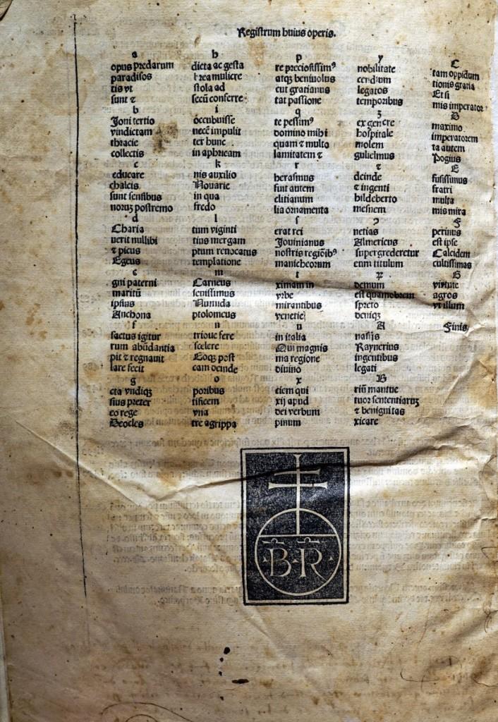 《年鑑補遺》第四版書末威尼斯里楚斯(Bernardinus Rizus)印刷作坊的出版印記。