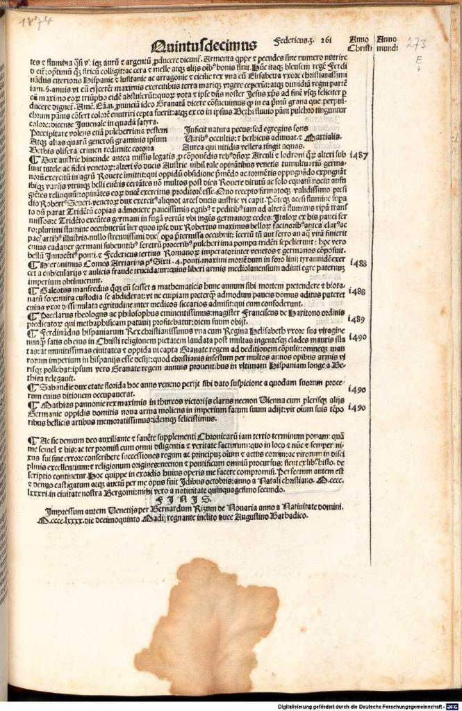 《年鑑補遺》第三版書末出版印記,註有印刷作坊名字與出版時間:1486.12.15。