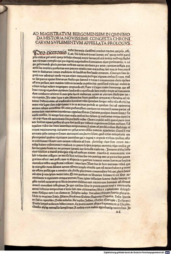 《年鑑補遺》第二版前言第一頁,在第二行與第三行可以見到後來約定俗成的書名:Supplementum chronicarum。