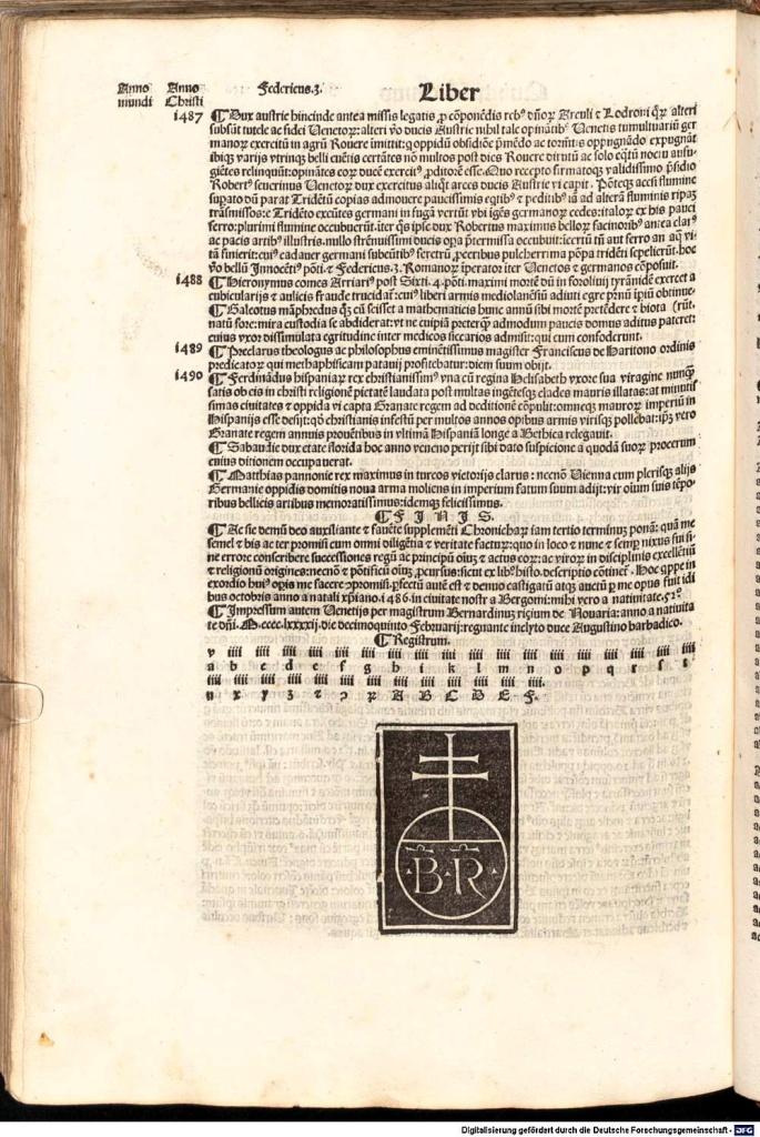 《年鑑補遺》第五版書末出版註記與威尼斯里楚斯(Bernardinus Rizus)印刷作坊的出版印記。可以看到出版時間:1492.2.15。
