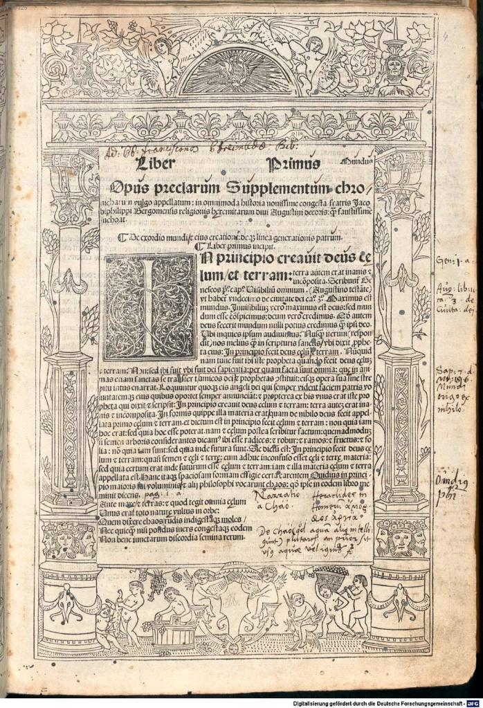《年鑑補遺》第五版第一卷第一頁開光插圖。