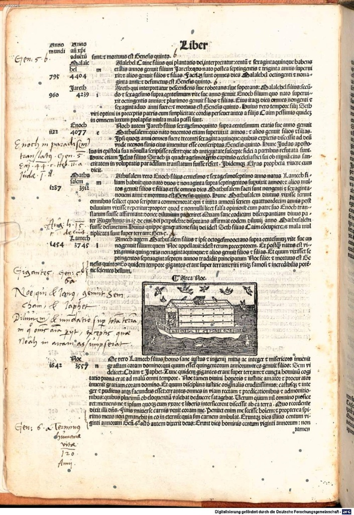 《年鑑補遺》第五版新增的諾亞方舟木刻插圖。