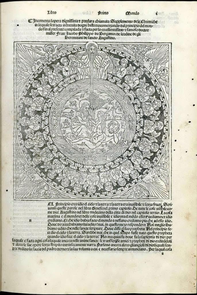 《年鑑補遺》第三版第一卷上帝造人插圖,缺起首大寫花飾木刻字母的版本。