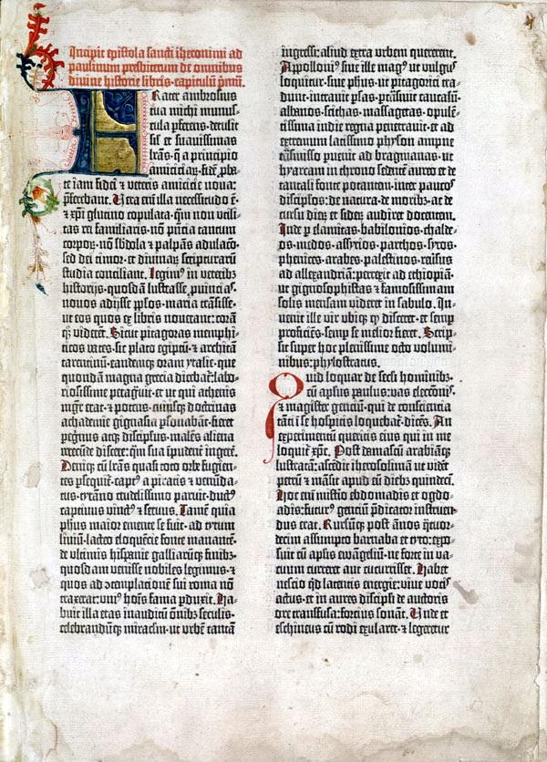 古騰堡《四十二行聖經》第一頁,聖傑洛姆的前言,配上一如手抄本的手繪花飾起首大寫字母。