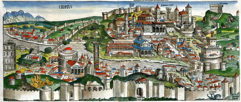搖籃本著名經典插圖書籍《年鑑》(Liber chronicarum)中的羅馬景觀手繪上彩插圖,和《年鑑補遺》中的相比,雖然尺寸較大,但細節較少,採取的視角和《年鑑補遺》的雷同,幾個重要建築物的方位如出一轍。