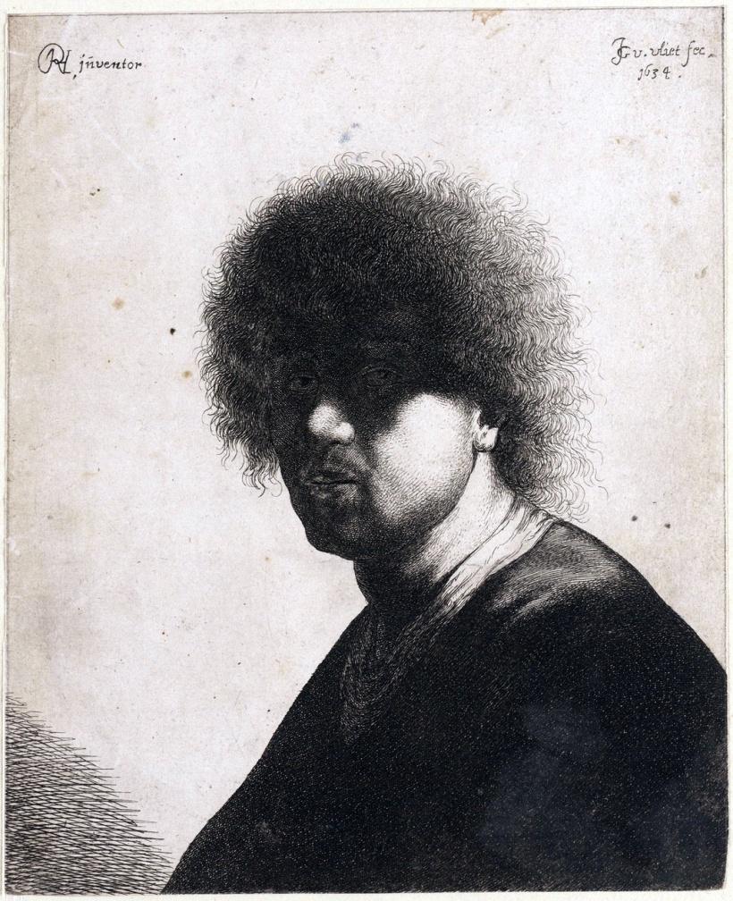 約翰‧凡‧弗利特,《林布蘭特自畫像》(Portret van Rembrandt),銅版蝕刻,1634。