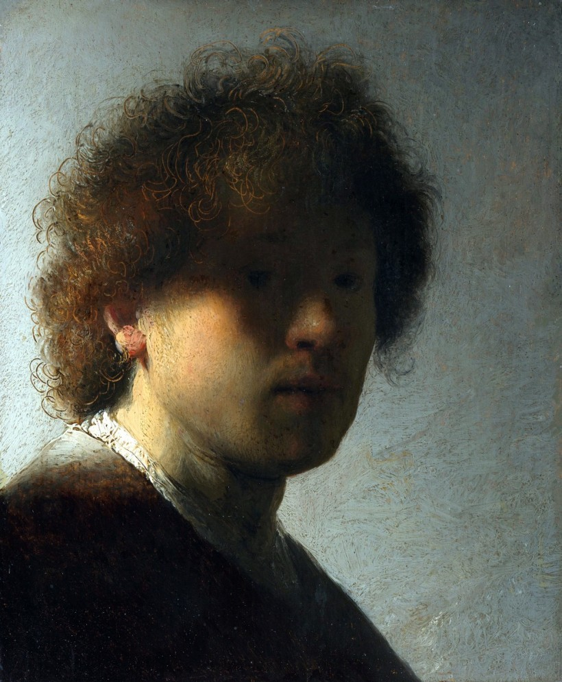 林布蘭特,《青年時期自畫像》,油彩木板,約1628。