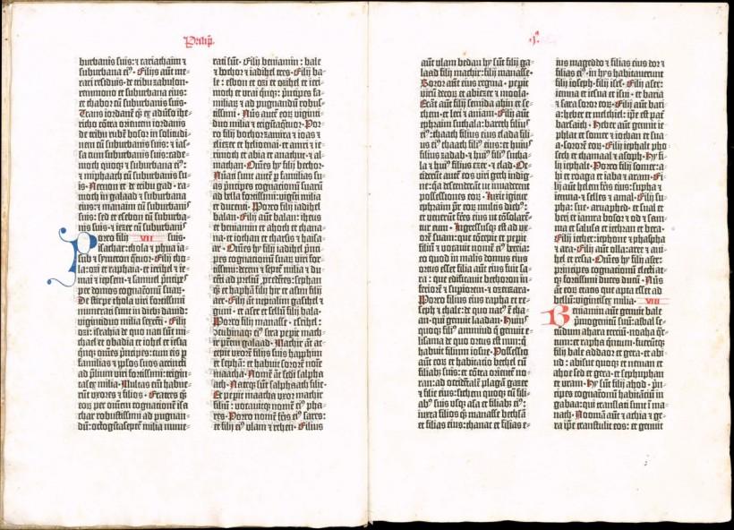三十六行聖經,又名邦貝格聖經(Bamberg Bible),約1458–1460。