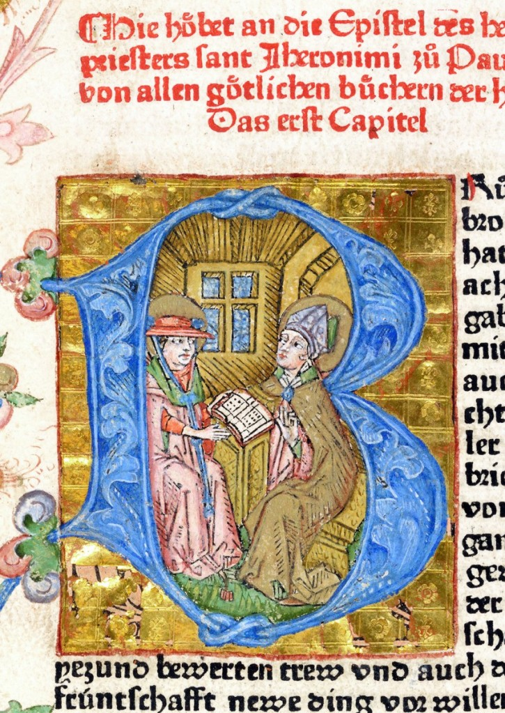 蔡納聖經(Zainer Bible)前言中的起首大寫繪圖字母B,描繪聖傑羅姆(St. Jerome, c. 340-420) 將自己翻譯完成的拉丁文聖經獻給安提阿主教聖保羅( St. Paulinus, Bishop of Antioch, 主教任期362- 388 )。