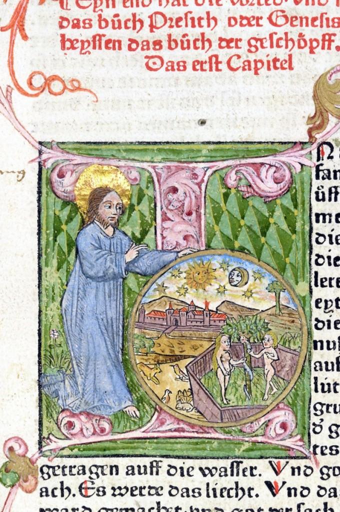 蔡納聖經(Zainer Bible)中創世紀的起首大寫繪圖字母I,描繪上帝創造天地與人類的景象。