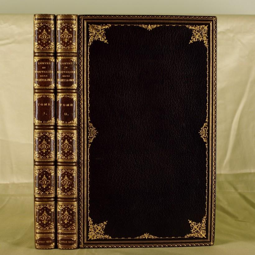 蔡斯朵夫(Joseph Zaehnsdorf)紅棕色摩洛哥山羊皮精裝的拉封丹《故事集》。