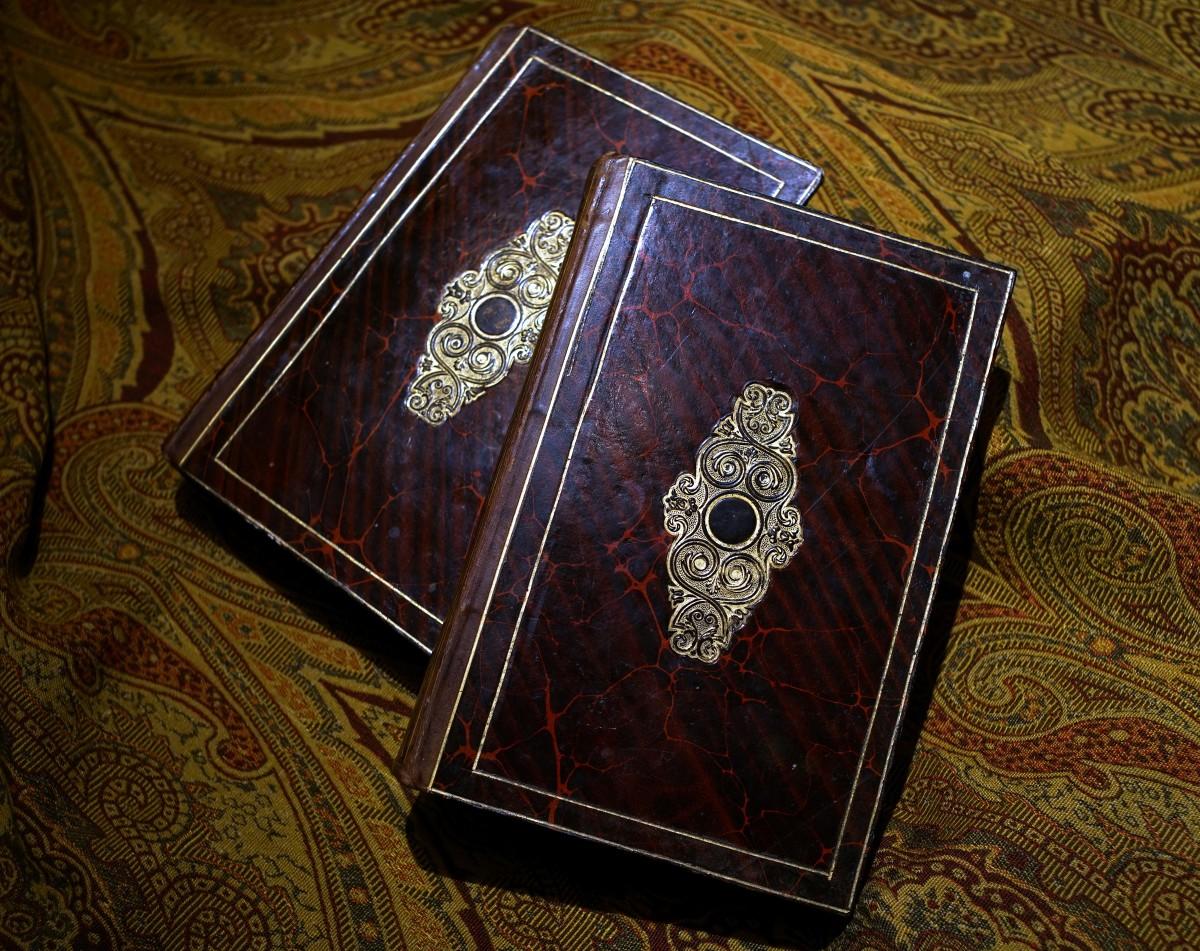 《寓言集》書封紅褐色雲紋紙上的燙金壓花。