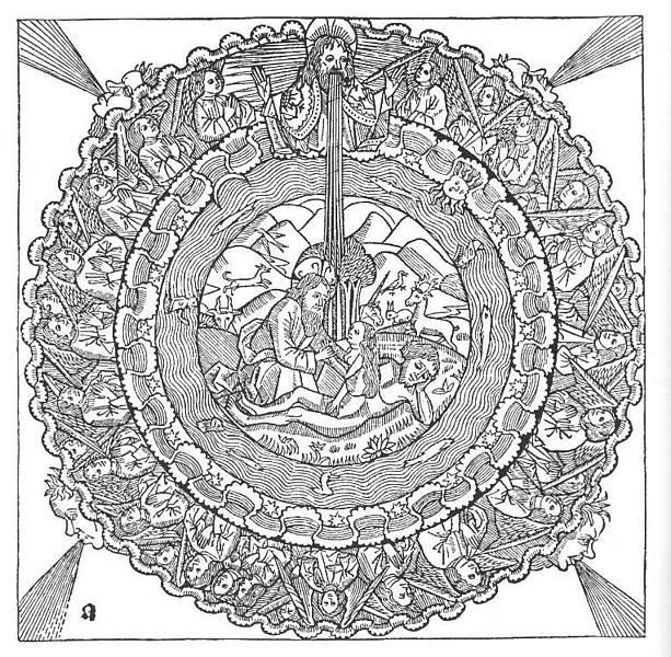 科隆聖經 (Kölner Bible)創世紀中上帝創造天地與人類的木刻插圖。