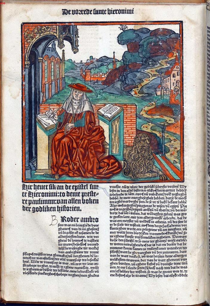 呂貝克聖經(Lúbeck Bible),又名《低地德語聖經》(Biblia germanica inferior),1494年。聖傑羅姆(St. Jerome, c. 340-420)的前言與他翻譯聖經的景象 。