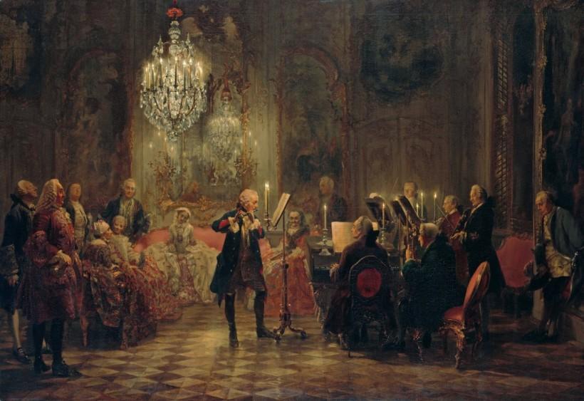 阿朵夫‧孟徹(Adolph Friedrich Erdmann von Menzel, 1815 – 1905),菲特烈大帝忘憂宮的長笛音樂會,1850 – 1852,柏林老國家藝廊(Alte Nationalgalerie)。