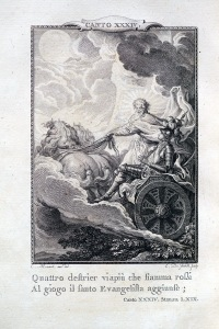 內頁插圖:騎士艾斯多佛(Astolfo)在聖約翰的帶領下,準備前往月球找回發瘋的羅蘭多的理智。