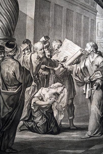 行淫的婦人被帶到耶穌面前。