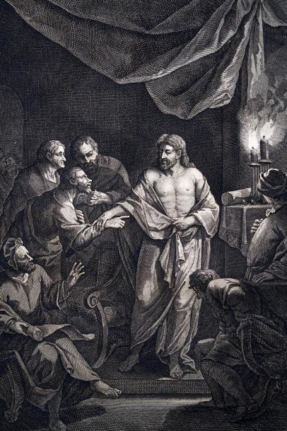 耶穌復活後,在門徒前顯現,多馬伸手探入耶穌的肋旁。