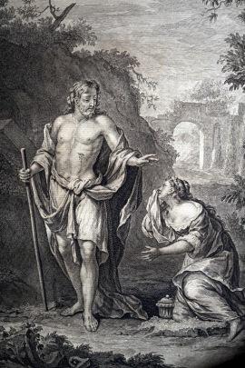 耶穌復活後,向抹大拉的馬利亞顯現,並說:「不要摸我,因我還沒有升上去見我的父。」(約翰福音 20:17a)