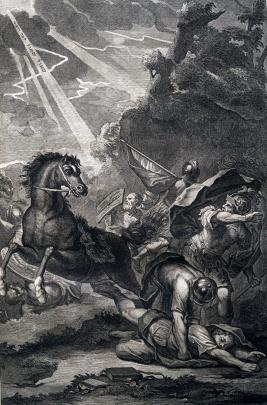 保羅前往大馬士革迫害基督徒時,遇見天上大光,耶穌發聲對他說話:「掃羅!掃羅!你為什麼逼迫我?」(使徒行傳 9:4)