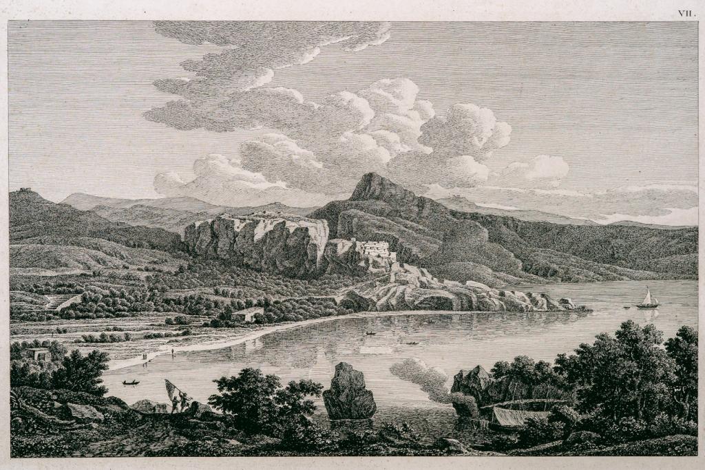 【卡塔雅廢墟美景,由藝術家友人繪製,羅馬的萊因哈特蝕刻製版】
